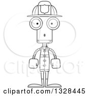 Lineart Clipart Of A Cartoon Black And White Skinny Surprised Robot Firefighter Royalty Free Outline Vector Illustration