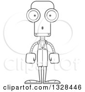 Lineart Clipart Of A Cartoon Black And White Skinny Surprised Robot Doctor Royalty Free Outline Vector Illustration
