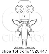 Lineart Clipart Of A Cartoon Black And White Skinny Surprised Robot Cupid Royalty Free Outline Vector Illustration