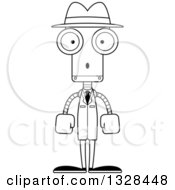 Lineart Clipart Of A Cartoon Black And White Skinny Surprised Robot Detective Royalty Free Outline Vector Illustration