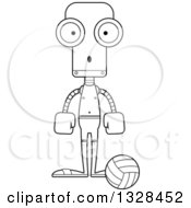 Lineart Clipart Of A Cartoon Black And White Skinny Surprised Robot Beach Volleyball Player Royalty Free Outline Vector Illustration