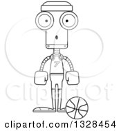 Lineart Clipart Of A Cartoon Black And White Skinny Surprised Robot Basketball Player Royalty Free Outline Vector Illustration