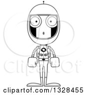 Lineart Clipart Of A Cartoon Black And White Skinny Surprised Astronaut Robot Royalty Free Outline Vector Illustration