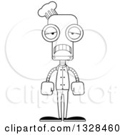 Lineart Clipart Of A Cartoon Black And White Skinny Sad Chef Robot Royalty Free Outline Vector Illustration