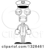 Lineart Clipart Of A Cartoon Black And White Skinny Sad Robot Captain Royalty Free Outline Vector Illustration