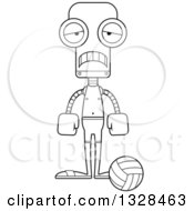 Lineart Clipart Of A Cartoon Black And White Skinny Sad Robot Beach Volleyball Player Royalty Free Outline Vector Illustration