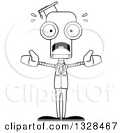 Lineart Clipart Of A Cartoon Black And White Skinny Scared Robot Professor Royalty Free Outline Vector Illustration