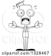 Cartoon Black And White Skinny Scared Robot Professor