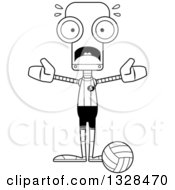 Lineart Clipart Of A Cartoon Black And White Skinny Scared Robot Volleyball Player Royalty Free Outline Vector Illustration