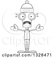 Lineart Clipart Of A Cartoon Black And White Skinny Scared Winter Robot Royalty Free Outline Vector Illustration