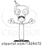 Lineart Clipart Of A Cartoon Black And White Skinny Scared Robot Wizard Royalty Free Outline Vector Illustration