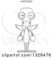 Lineart Clipart Of A Cartoon Black And White Skinny Sad Angel Robot Royalty Free Outline Vector Illustration