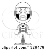 Lineart Clipart Of A Cartoon Black And White Skinny Sad Astronaut Robot Royalty Free Outline Vector Illustration