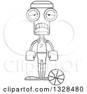 Lineart Clipart Of A Cartoon Black And White Skinny Sad Robot Basketball Player Royalty Free Outline Vector Illustration