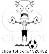 Lineart Clipart Of A Cartoon Black And White Skinny Scared Robot Soccer Player Royalty Free Outline Vector Illustration