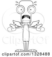 Lineart Clipart Of A Cartoon Black And White Skinny Scared Robot Cupid Royalty Free Outline Vector Illustration