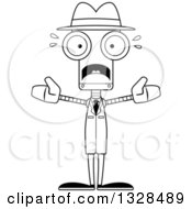 Lineart Clipart Of A Cartoon Black And White Skinny Scared Robot Detective Royalty Free Outline Vector Illustration