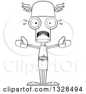 Lineart Clipart Of A Cartoon Black And White Skinny Scared Robot Hermes Royalty Free Outline Vector Illustration