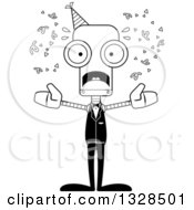 Lineart Clipart Of A Cartoon Black And White Skinny Scared Party Robot Royalty Free Outline Vector Illustration