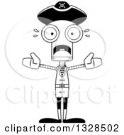Lineart Clipart Of A Cartoon Black And White Skinny Scared Pirate Robot Royalty Free Outline Vector Illustration