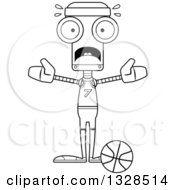 Lineart Clipart Of A Cartoon Black And White Skinny Scared Robot Basketball Player Royalty Free Outline Vector Illustration