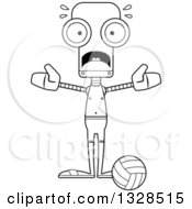 Lineart Clipart Of A Cartoon Black And White Skinny Scared Robot Beach Volleyball Player Royalty Free Outline Vector Illustration