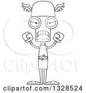 Lineart Clipart Of A Cartoon Black And White Skinny Mad Robot Hermes Royalty Free Outline Vector Illustration