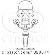 Cartoon Black And White Skinny Mad Robot Construction Worker