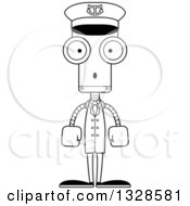 Lineart Clipart Of A Cartoon Black And White Skinny Surprised Robot Captain Royalty Free Outline Vector Illustration