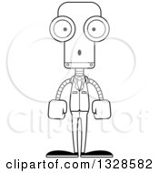 Lineart Clipart Of A Cartoon Black And White Skinny Surprised Business Robot Royalty Free Outline Vector Illustration