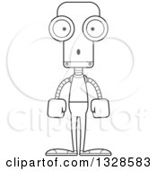 Lineart Clipart Of A Cartoon Black And White Skinny Surprised Casual Robot Royalty Free Outline Vector Illustration