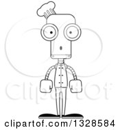 Lineart Clipart Of A Cartoon Black And White Skinny Surprised Chef Robot Royalty Free Outline Vector Illustration