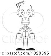 Cartoon Black And White Skinny Sad Robot Professor