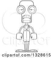Cartoon Black And White Skinny Sad Robot Doctor