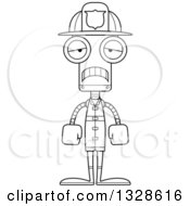 Lineart Clipart Of A Cartoon Black And White Skinny Sad Robot Firefighter Royalty Free Outline Vector Illustration