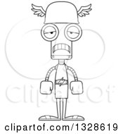Lineart Clipart Of A Cartoon Black And White Skinny Sad Robot Hermes Royalty Free Outline Vector Illustration