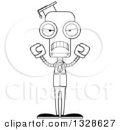Cartoon Black And White Skinny Mad Robot Professor