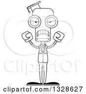 Cartoon Black And White Skinny Mad Robot Professor