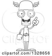 Lineart Clipart Of A Cartoon Black And White Skinny Hermes Robot With An Idea Royalty Free Outline Vector Illustration