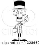 Cartoon Black And White Skinny Robot Circus Ringmaster With An Idea