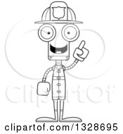 Lineart Clipart Of A Cartoon Black And White Skinny Robot Firefighter With An Idea Royalty Free Outline Vector Illustration
