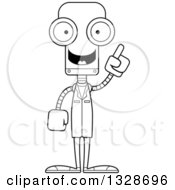 Cartoon Black And White Skinny Robot Doctor With An Idea