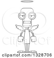 Lineart Clipart Of A Cartoon Black And White Skinny Mad Robot Angel Royalty Free Outline Vector Illustration