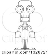 Cartoon Black And White Skinny Mad Robot Doctor