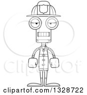 Lineart Clipart Of A Cartoon Black And White Skinny Mad Robot Firefighter Royalty Free Outline Vector Illustration