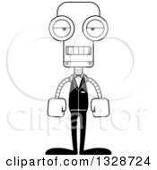 Lineart Clipart Of A Cartoon Black And White Skinny Mad Groom Robot Royalty Free Outline Vector Illustration