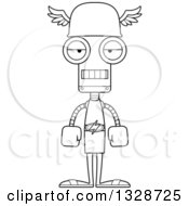 Lineart Clipart Of A Cartoon Black And White Skinny Mad Hermes Robot Royalty Free Outline Vector Illustration