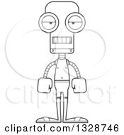 Lineart Clipart Of A Cartoon Black And White Skinny Bored Robot Swimmer Royalty Free Outline Vector Illustration