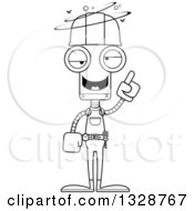 Cartoon Black And White Skinny Drunk Or Dizzy Robot Construction Worker