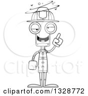 Lineart Clipart Of A Cartoon Black And White Skinny Drunk Or Dizzy Robot Firefighter Royalty Free Outline Vector Illustration